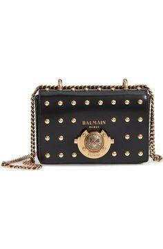 91b554aaa88 Balmain Baby Box Studded Leather Shoulder Bag