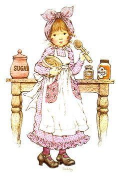 Vivien Kubbos's art of Sarah Kay Sarah Key, Dibujos Cute, Vintage Drawing, Sweet Pic, Decoupage Vintage, Holly Hobbie, Cute Illustration, Big Eyes, Fabric Painting
