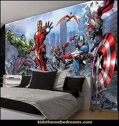 bedroom avengers bedrooms marvel decor wall mural comic theme superheroes boys batman decorating themed superhero spiderman comics hero super dc