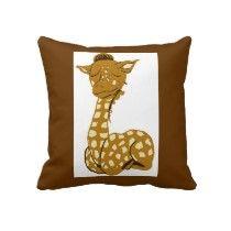 giraffe by Kristie Hubler on pillow for baby rooms, nursery, on zazzle.com/fabricatedframes