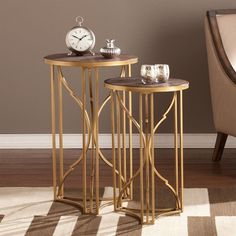 $188 28H 17.5 W Lowest price online on all Southern Enterprises Alaina 2 Piece Accent Nesting Table Set in Gold - OC2512