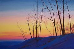 Original Oil Painting Sunrise Winter Snow Sunset 20x16 Landscape Art Canvas