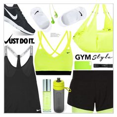 """Gym Style"" by arohii ❤ liked on Polyvore featuring NIKE, Brita, Fitbit, JVC, Sisley, fitness, gymessentials and Fitnessfam"