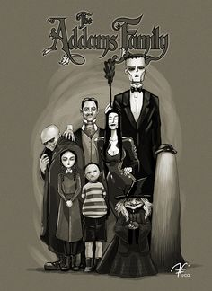 Adams Family by Santiago Camacho The Originals Show, Adams Family, The Munsters, Family Illustration, Family Tattoos, Movie Collection, Tim Burton, Dark Art, Hanging Out