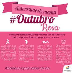 Banner informativo sobre o câncer de mama, feito para a ABADEUS, apoiando o #OutubroRosa
