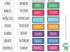 Imprimible. Días de la semana en inglés y castellano. Free printable weekdays…
