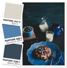 me encanta esta combinación de colores y el diseño del plato. Stone and Blue Color Palette