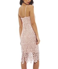 Look at this AX Paris Pink Lace V-Neck Spaghetti-Strap Dress on #zulily today!
