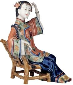 (3) Traditional Shiwan Chinese Oriental Porcelain Ceramic Seated Lady Figurine| SHIWAN LADIES OF ART | Pinterest