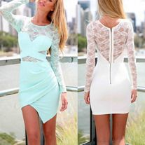 Fashion lace perspective bodycon dress S: Bust: 82 Waist: 62 Length: 83Sleeve: 80  M: Bust: 86 Waist: 66 Length: 84 Sleeve: 81 L: Bust: 90 Waist: 70 Length: 85 Sleeve: 82