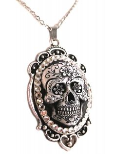 Diamond And Coal Women's Sugar Skull Cameo Necklace