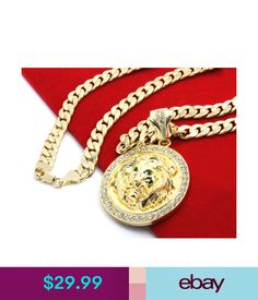 """Chains, Necklaces & Pendants Mens 14K Gold Plated 30"""" Cuban Chain Lion Face Green Eyes Pendant Necklace #ebay #Fashion"""
