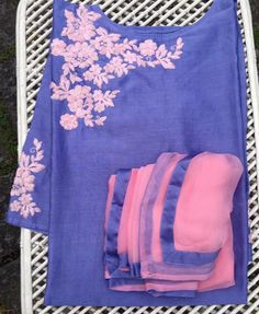 Pink and violet Stylish Dress Designs, Designs For Dresses, Dress Neck Designs, Stylish Dresses, Blouse Designs, Kurti Embroidery Design, Hand Embroidery Dress, Linen Dress Pattern, Salwar Pattern