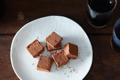 Alice Merdrich's House Truffles (2 egg yolks, 1 lb chocolate, 10 tbs butter, salt, cocoa powder for rolling)
