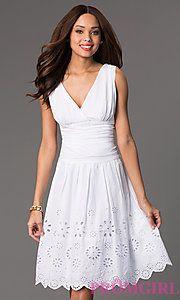 Buy Sleeveless Knee Length V-Neck Dress at PromGirl