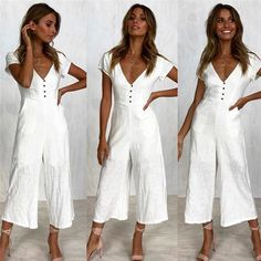 abe5f6d0b7831 Jumpsuit Summer Women Long V-Neck Short Sleeve Wide Leg Strappy ...