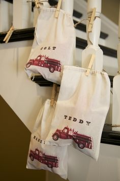 Fire truck goodie bags \ krystie mccauley inman \ Fireman Birthday Party- doughylegs.com