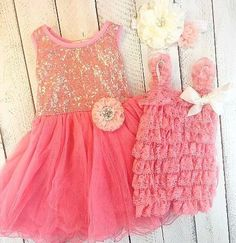 This matching sister dress/outfit set comes with acoral tulledress with peach adorned flower and a matching little sister romper in peach/coral with matching headband. Great for girls for birthdays, weddings, and those family photos.