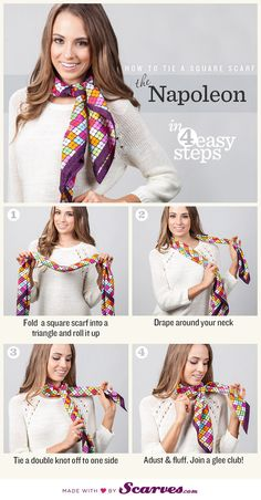 How to Tie a Scarf: The Napoleon - - http://www.scarves.com/how-to-tie-a-scarf/napoleon via @Scarves.com®