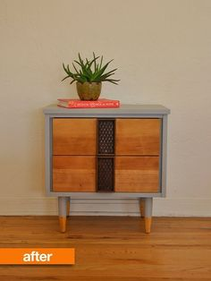 Before & After: Sarah Saves a MCM Sidetable | Apartment Therapy. Detailed info on what products and processes she used for refinishing.