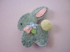 Bunny Brooch Easter Felt Spring -