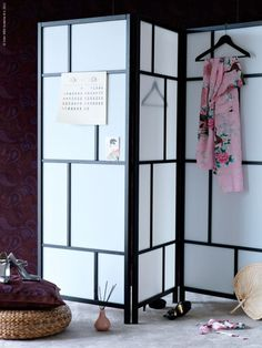 Geometric folding screen. Awesome way to hide desk/office area of living room when people come over :) Maybe cut some fabric to the size of some of the squares to make it coordinate with the living room colors...