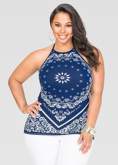 13f8fad1f2d Bandana Halter Top-Plus Size Tops-Ashley Stewart-041-F801X