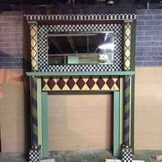 """""""Custom painted mantelpiece for ESSpa. Inspired by @mackenziechilds. Still might add some tassels. #antiques #customfurniture #custompainted #chalkpaint…"""""""