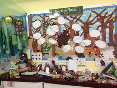 Gruffalo display including year 1 character descriptions Primary Classroom Displays, Year 1 Classroom, Teaching Displays, Classroom Organisation, Teaching Ideas, Art School, School Stuff, School Ideas, Julia Donaldson Books