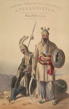 Afghan Royal Soldiers of the Durrani empire, lithograph
