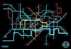 Mapa del metro de Londres estilo Tron - Isopixel | Isopixel