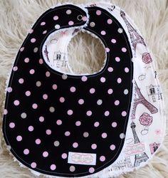 Baby Girl Bib Set - Eiffel Tower Bib Set - Black Pink Polka Dot Bib Set