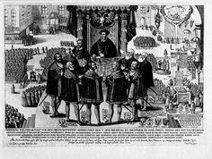 1530.Carlos V recibe la Confessio Augustana o Cofesión de Augsburgo en la sesión del 25 de junio de 1530.
