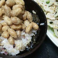 てづくり古代米とつけ梅赤紫蘇の炊き込みご飯と有機野菜達のさっと煮マスタード和えおいしい