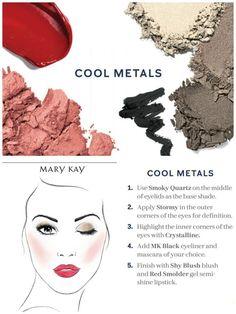 Make-up-Farbkombination Cool Metals - Makeup Tips Highlighting Mary Kay Eyeshadow, Eyeshadow For Blue Eyes, Mary Kay Makeup, Mary Kay Cosmetics, Party Makeup, Eye Makeup, Makeup Tips, Makeup Ideas, Makeup Tutorials