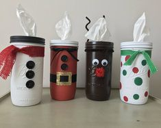 Don't let ugly tissue boxes ruin your holiday decor! Replace them with adorable made to order holiday Mason tissue jars. All jars come with a set of tissues. Uses Kleenex Perfect Fit tissues for refills. For snowman jar, specify plaid or red scarf. Pot Mason, Mason Jar Gifts, Mason Jar Diy, Christmas Crafts For Kids, Diy Christmas Gifts, Holiday Crafts, Christmas Decorations, Holiday Decor, Christmas Candy Bar