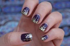 Dark Plum Manicure with Gold Glitter | Fall Nails | #LivingAfterMidnite