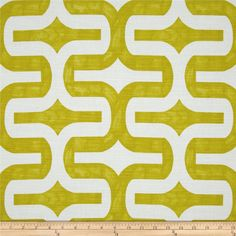 Screen printed on cotton slub duck (slub cloth has a linen appearance); this versatile medium weight fabric is perfect for window accents (draperies, valances, curtains and swags), accent pillows, duvet covers, upholstery and other home decor accents. Create handbags, tote bags, aprons and more. *Use cold water and mild detergent (Woolite). Drying is NOT recommended - Air Dry Only - Do not Dry Clean. Colors include citrine green and white.
