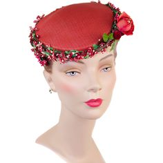 Redbud and Roses Vintage 1950s Lacquered Straw Hat