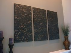 cheap decorating ideas: wrap plain large canvases with paintable