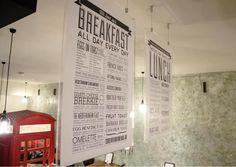 Hanging cafe signage