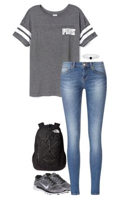 """""""school today"""" by sassy-and-southern ❤ liked on Polyvore featuring Victoria's Secret PINK, NIKE and The North Face"""