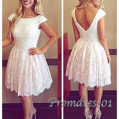 Cute short prom dress with sleeves, 2016 fashion ivory chiffon party dress for teens #coniefox #2016prom