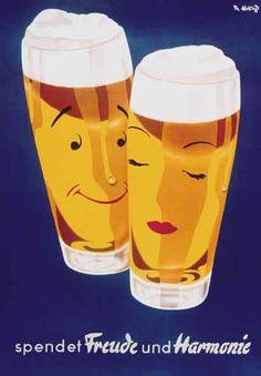 Bier ad (1950s) by Herbert Leupin - - - Ebenso Freude haben an der Braumeister Selektion: 6 edle Klassiker deutscher Braukunst vereint die Braumeister Selektion in einem Sixpack mit Booklet gibt es auch hier: http://braumeister-selektion.de/ ... #Biere #Braukunst #Brauereien