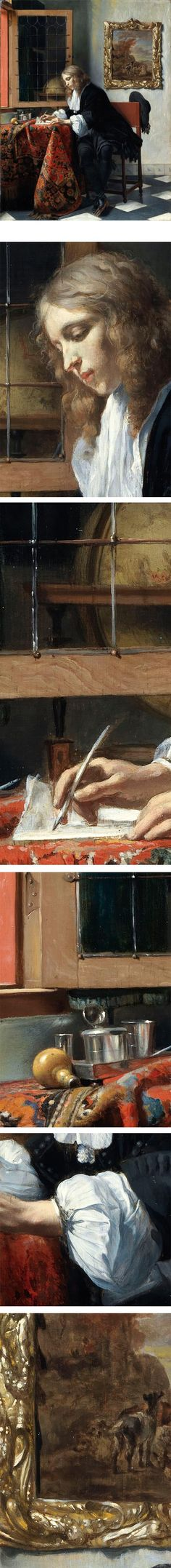 Man Writing a Letter, Gabriel Metsu ,  in the National Gallery of Ireland.