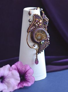 Ammonite Statement necklace Art Nouveau jewelry Beaded gemstone Jewelry Bead embroidery necklace Purple gemstone Pendant Ammonite Jewelry Bead Embroidery Jewelry, Beaded Embroidery, Beaded Jewelry, Jewelry Necklaces, Beaded Necklace, Statement Necklaces, Gifts For Women, Gifts For Her, Art Nouveau