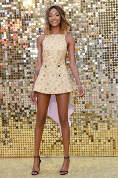 Jourdan Dunn is all legs in this mod-inspired mini dress paired with simple black sandals at the world premiere of Absolutely Fabulous: The Movie in London on Wednesday.
