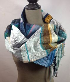 New to pidgepidge on Etsy: Willow Gifts For Women, Ladies Gifts, Cozy Scarf, Acrylic Wool, Wearable Art, Hand Weaving, Aqua, Textiles, Navy