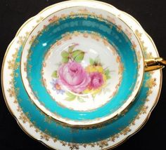Stanley England Pink Rose Boquet Blue Gold White Wide Tea Cup and Saucer   eBay