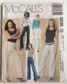 McCall's sewing pattern 3935 Misses' petite pants sizes 12-14-16-18